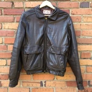 M. Julian Men Bomber Jacket Brown Leather Vintage